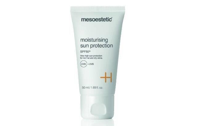 O Mosturizing Sun Protection, da Mesoestetic, é um creme solar FPS 50 que contém vitamina E na composição l R$113