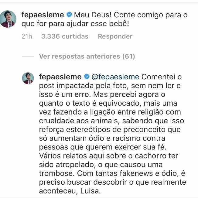 Resposta de Fernanda Paes Leme no post de Luisa Mell