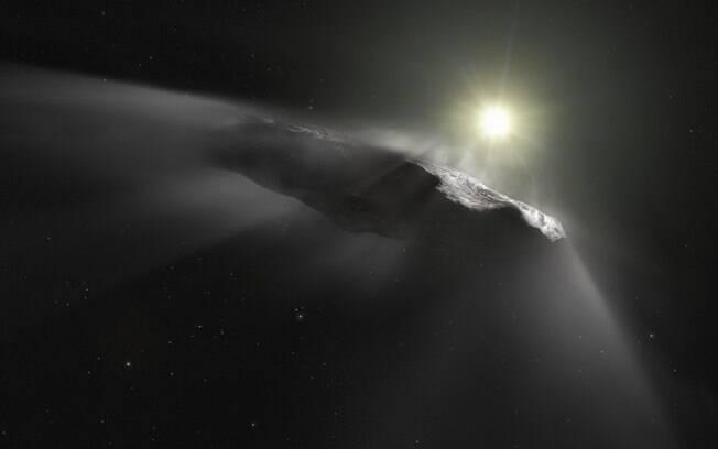 Impressão artística do asteroide interestelar Oumuamua