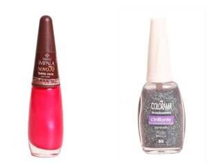 Esmalte rosa choque ou com purpurina