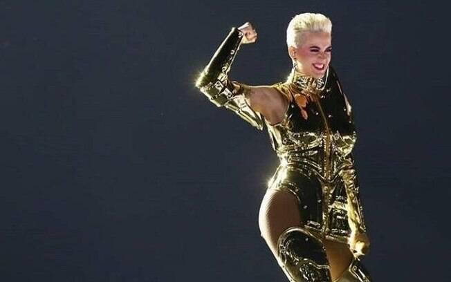 Katy Perry durante seu show que fez em São Paulo em março deste ano