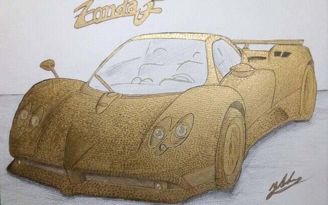 Pagani Zonda F feito com 100 mil moedas douradas. Escultura é encomenda de colecionador excêntrico