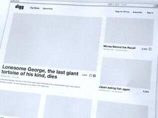 Imagem divulgada pela Betaworks mostra modelo de página inicial adotado pelo novo Digg