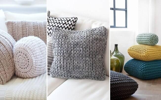 Encapar as almofadas com tricô, seja ele gigante ou normal, também é uma boa forma de redecorar a casa