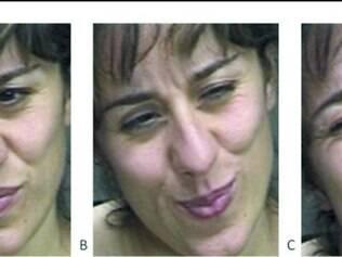"""Caras e bocas.Programa de computador conseguiu perceber que a foto """"A"""" é falsa e as fotos """"B"""" e """"C"""" são expressões reais de voluntária"""