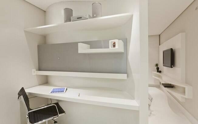 decoracao de ambientes pequenos e integrados : decoracao de ambientes pequenos e integrados:Flat de 48 m² abusa do branco e de ambientes integrados – Arquitetura