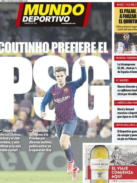 Mundo Deportivo traz informação de Philippe Coutinho no PSG