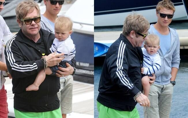 Elton John aproveitou uma folga entre seus shows para se divertir com o pequeno Zachary
