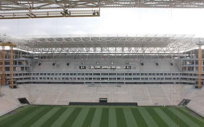 Imagem da Arena Corinthians, em Itaquera,  publicada nesta terça-feira, no twitter oficial do  clube