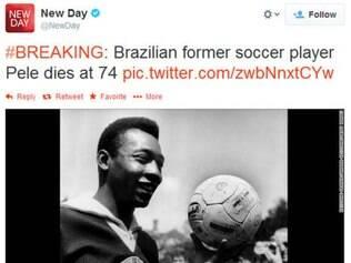 Cerca de 20 minutos depois, o Twitter do New Day apagou a mensagem e enviou outra, informando o erro e se desculpando pela confusão