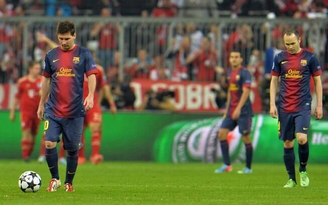 Messi e Iniesta lamentam segundo gol do  Baryern de Munique sobre o Barcelona na partida de  ida da semifinal da Liga dos Campeões