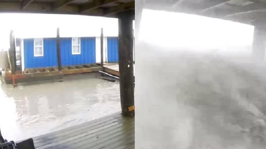 Jeremy DiBenedetto compartilhou no Facebook a destruição na região de Port Fourchon, na Louisiana, nos Estados Unidos. Em poucas horas, galpão sumiu em mei oa tempestada