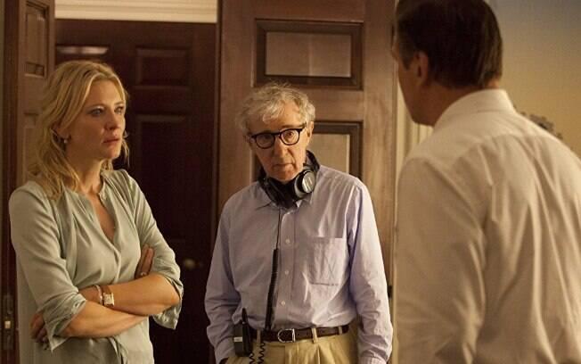 Cate Blanchett, Alec Baldwin e Woody Allen no set do longa-metragem vencedor do Oscar