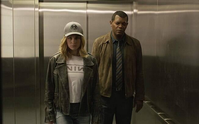 Brie Larson e Samuel L. Jackson em cena de Capitã Marvel, que estreia nesta quinta-feira (7)