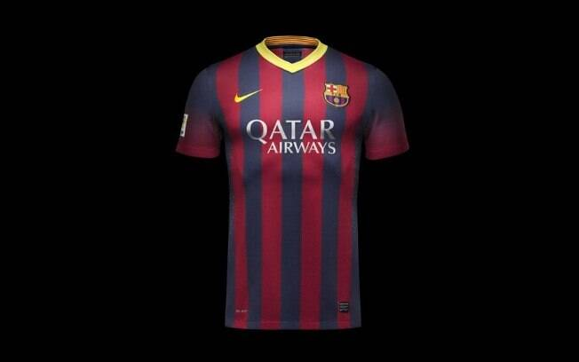 Nova camisa do Barcelona para temporada 2013-2014 - Modelo 1. Foto   Divulgação 138fe132f8e68