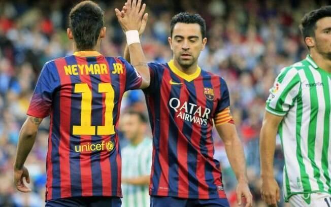 Xavi e Neymar no Barcelona