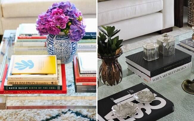 Os livros são ótimas opções para decorar a sala sem precisar comprar novos objetos decorativos e gastar dinheiro