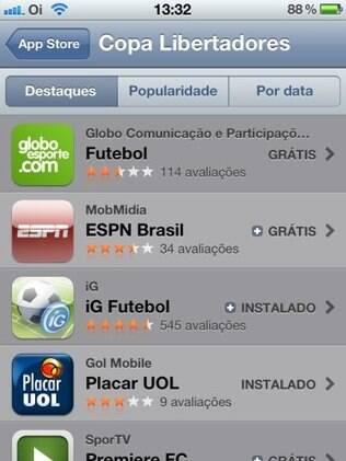 iG Futebol possui 4,5 estrelas na App Store