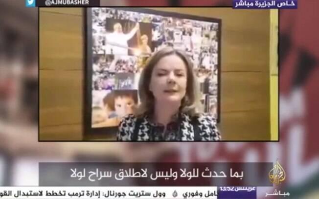 Entrevista de Gleisi Hoffmann à rede de televisão Al Jazeera sobre a prisão de Lula provocou polêmica na semana passada