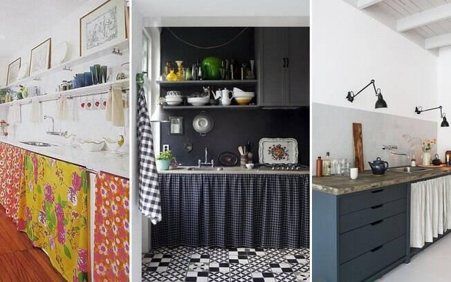 Se você não pode fazer mudanças nos móveis que já estão acomplados às pias da casa, uma boa ideia é instalar cortininhas