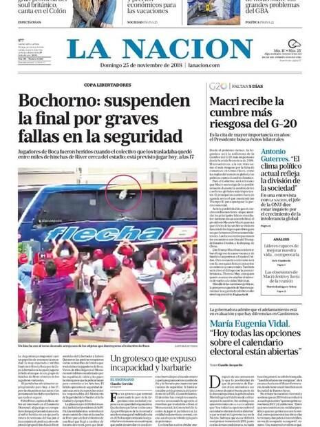 A capa do jornal La Nación sobre a confusão antes da final da Libertadores