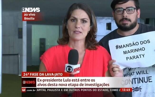 Um manifestante protestou contra a Globo ao vivo na GloboNews