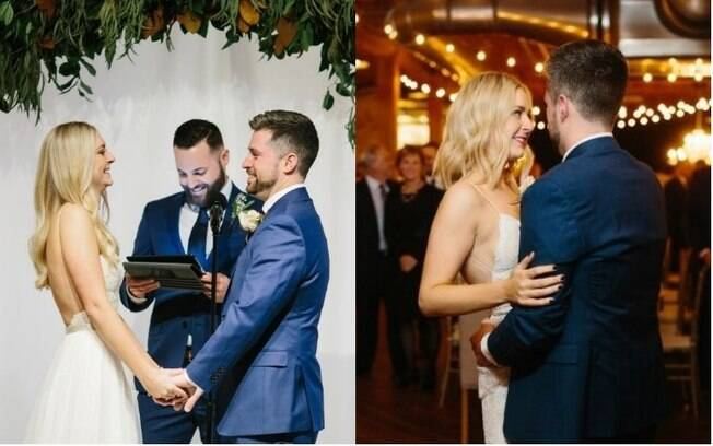 Kayla decidiu cortar o cabelo logo depois da cerimônia de casamento e aparecer com o visual renovado na festa