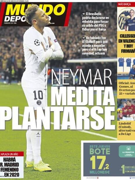 Capa do Mundo Deportivo com Neymar