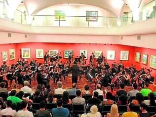 Espaço. Pela segunda vez este ano, a orquestra faz apresentação dentro do Museu Inimá de Paula