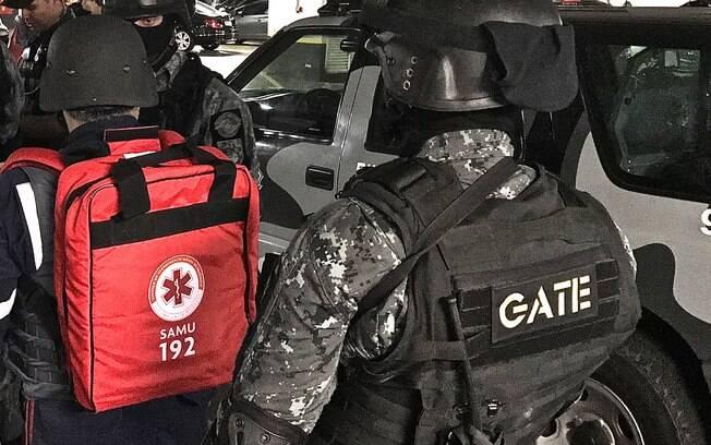 Briefing do treinamento em conjunto para o SAMU e GATE