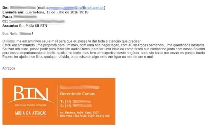 E-mail com proposta comercial enviada por profissional da BTN: valores superam R$ 80 mil por mês