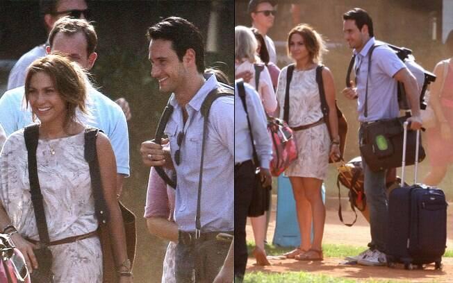 Jennifer Lopez e Rodrigo Santoro no set de filmagens de