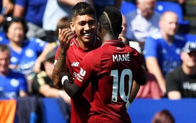 Firmino e Mané fizeram os gols da vitória do Liverpool sobre o Leicester