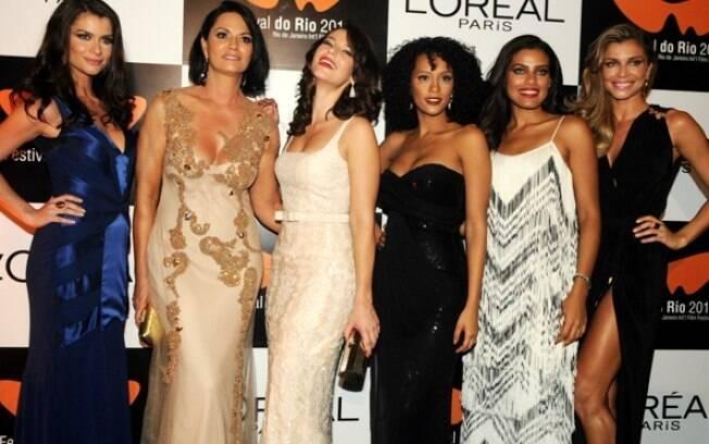 Alinne Moraes, Luiza Brunet, Paola Oliveira, Taís Araújo, Ildi Silva e Grazi Massafera no Festival de Cinema
