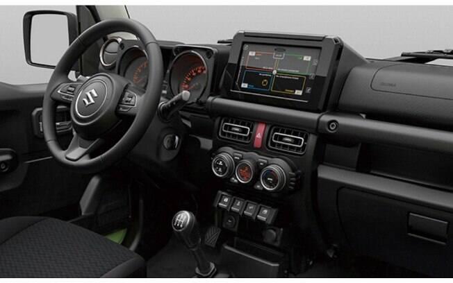 O interior do novo Suzuki Jimny também foi modernizado, com direito até a uma central multimídia sensível ao toque