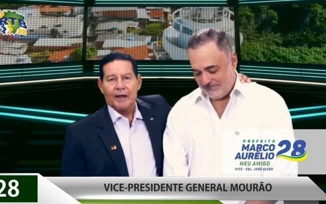 Mourão vira cabo eleitoral e faz campanha para Marco Aurélio, candidato do PRTB à Prefeitura do Recife