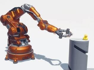 Robôs brigam por causa de um pato de borracha em uma das demos mostradas no estande da Oculus na CES 2015