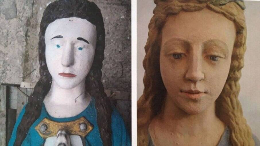 Reforma da imagem da Virgem Maria em santuário na Polônia (versão antiga, à esquerda)