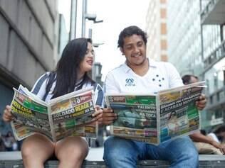 Super - Belo Horizonte, Mg. Novo caderno de Esportes do Super. Na foto: Paulo Mateus e Mylena Fernanda. Fotos: Leo Fontes / O Tempo - 29.1.15
