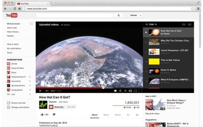 Mais simples e limpa, página do YouTube também adicionará melhorias ao recurso de guia