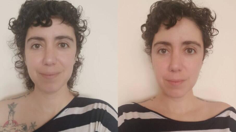 Antes e depois de aplicar a máscara