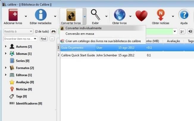 Calibre também é bom gerenciador de e-books