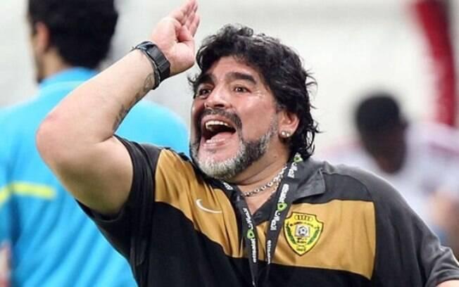 Maradona comandou a Argentina na Copa do  Mundo de 2010. Seleção caiu nas quartas de final  diante da Alemanha
