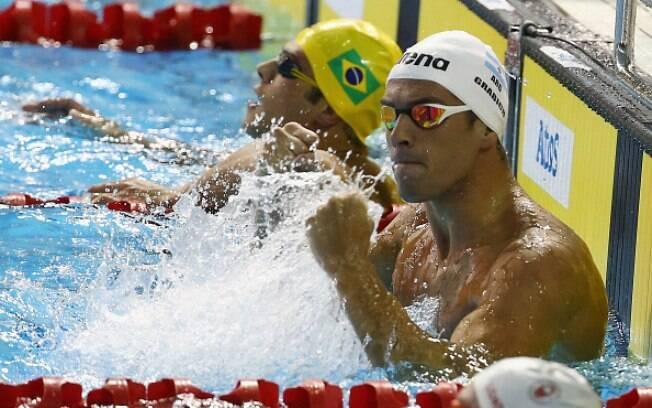 O argentino Grabich celebra conquista nos 100m livre. Foto: Al Bello/Getty Images
