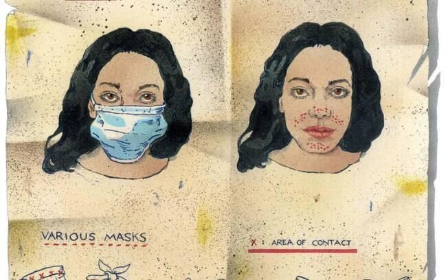 Representação da maskne pelo jornal The New York Times