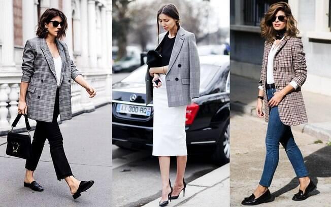 O blazer xadrez é atemporal e atualiza o look trabalho.