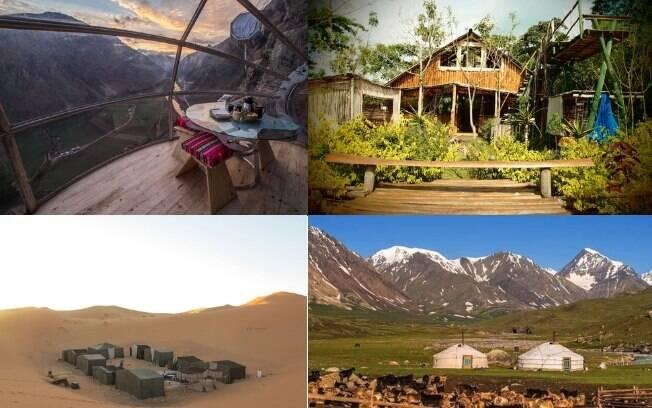 Skypods no Peru (esq. cima), casa a beira do lago em Uganda (dir. cima), tendas no Marrocos (esq. baixo) e Yurts na Mongólia (dir. baixo) são apenas quatro das nove casas exóticas que você pode escolher para a sua próxima viagem