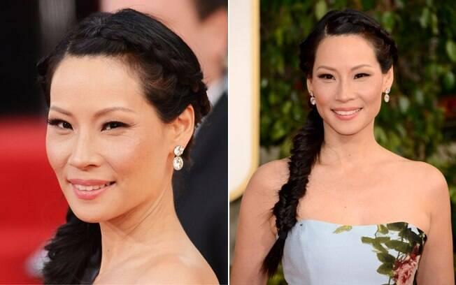 A atriz Lucy Liu escolheu uma singela trança sobre o ombro como penteado. A diferença é o modelo da trança, espinha de peixe