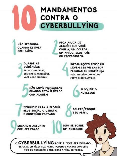 """Último dos mandamentos é """"não se torne um agressor"""", já que até mesmo quem não fez o bullying pode reforçar o problema com apenas likes"""