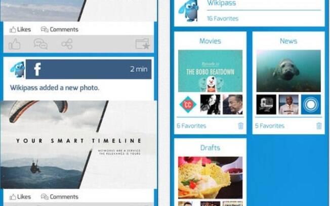 Wikipass reúne atualizações do Facebook, Twitter e outras redes sociais.  Grátis para iPhone 9767b85fab